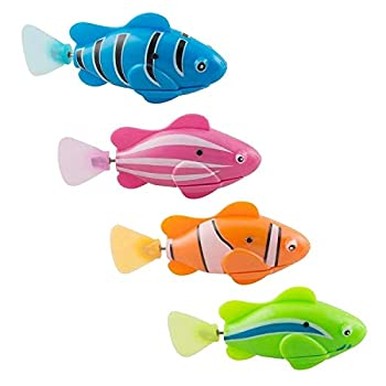 XYKTGH 4 Pack Swimming Robot Fish Electric Turbot Clownfish Water-Activated Bathtub Toys for Toddlers,Boys and Girls Random Color