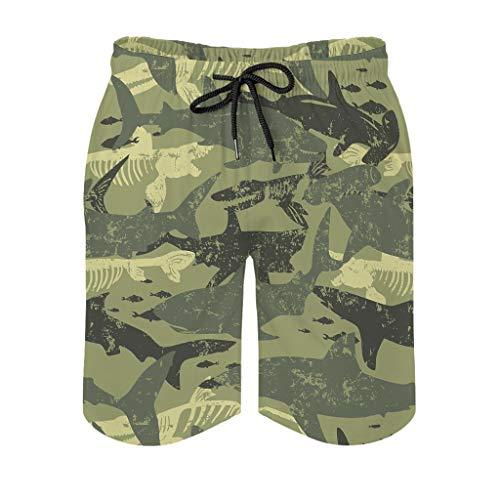 O5KFD&8 Mens Shark Camouflage Kurze Hose Sommer - Badehose White 3XL