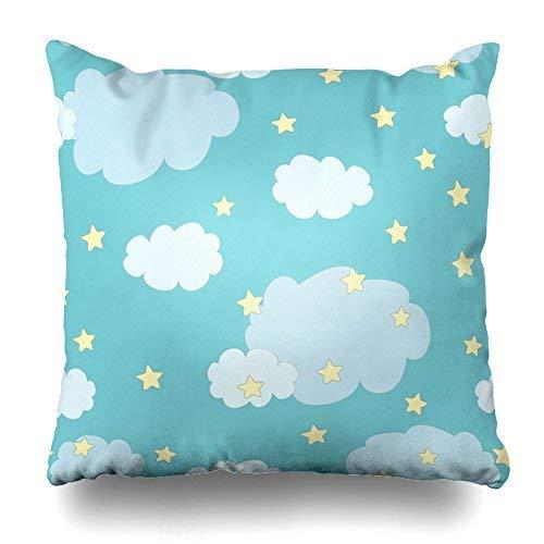 GFGKKGJFD Kissenbezüge 45,7 x 45,7 cm niedliche Wolken Sterne blau Überwurf Kissenbezüge für Schlafzimmer, Haushaltsgeschenke, Geburtstag, für Mama, für Teenager, Mädchen