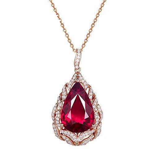 AnazoZ Collar de Boda Mujer Oro Rosa y Rojo Colgante Oro 18K Rosa Mujer Collar Gota de Agua con Pera Turmalina Roja 5.5ct