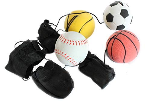 Creation Gross 4er Set Springball/Returnball/Flummi, Armband&Schnur, Fußball/Basketball/Tennisball/Baseball (9800011)