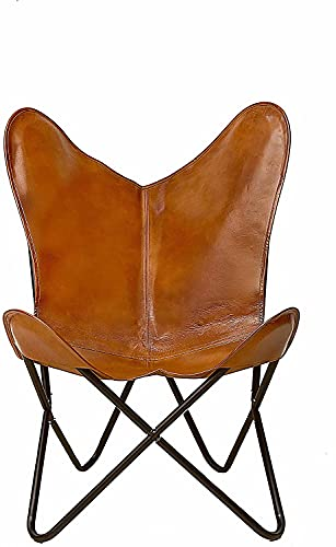 Leather Living Room Chairs-Butterfly Chair Brown Leather Butterfly Chair-Handmade with Powder Coated Folding Iron Frame (Cover with Folding Frame)