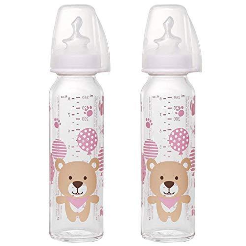 Nip - Juego de 2 biberones de cristal para bebé (250 ml, tetina de tamaño M (silicona/leche/a partir de 0 meses)