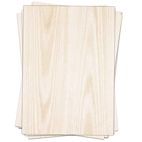 50 Blatt im Set: Briefpapier Holz Look hell - edel - Papier DIN A4 - beidseitig