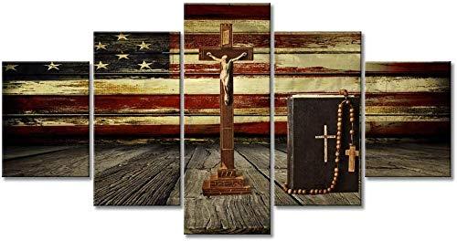 RuiYa Wall Art Frame 5 Canvas Painting Christian Jesus Cross Retro American Flag Panel HD Decoration Drawing Abstract Wallpaper Home Modern Murals Furnishing View Print Impression Bedroom Mo