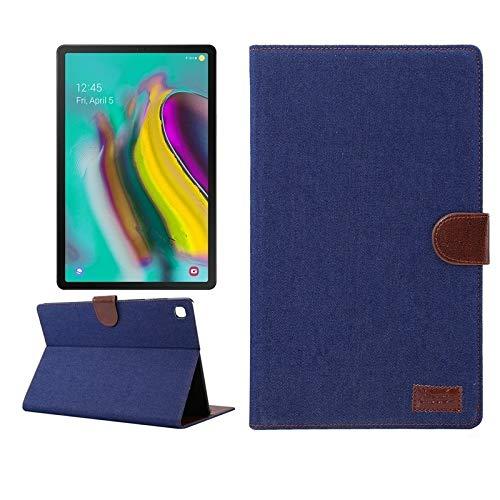 YXCY Caja protectora Galaxy Tab AYYD for Samsung T505 A7 textura de mezclilla PC horizontal de cuero del tirón con el sostenedor y ranuras for tarjetas y monedero y marco de fotos y sueño / Función de