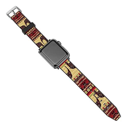 Correa de repuesto para reloj Apple Watch de 38 mm, 40 mm, correa de repuesto para iWatch Series 5/4/3/2/1, impresión africana con elefantes