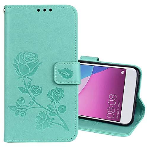Dmtrab Phone Case for Huawei P9 Lite Mini Wallet Funda, Rosa en Relieve Flip Horizontal PU Funda Protectora de Cuero con Soporte y Ranuras para Tarjetas Cajas de teléfono móvil (Color : Green)