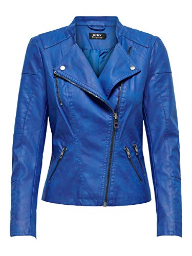 Only Onlava Faux Leather Biker Otw Noos, Chaqueta para Mujer, Azul Surf The Web, Small (Talla del Fabricante: 36)