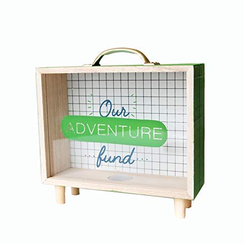 QIEP Marco de caja de sombra, caja de dinero de madera, banco de madera de boda (C)