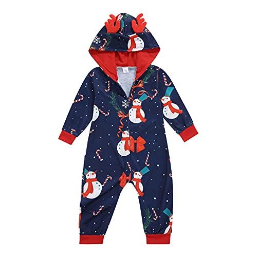 Yumeng Pijama de Navidad a juego para la familia, con capucha, manga larga, con cremallera, para niños y adultos, Bebé azul,