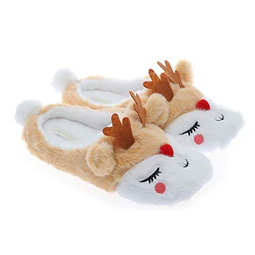 Millffy Winter Slippers Plush Woman Reindeer Slippers Christmas Moose Indoor Home Shoes Ladies Animal Shoes (9-10, Moose)