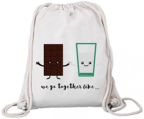 ShirtStreet Geburtstags,- Valentinstagsgeschenk Paar Premium Bio Baumwoll Turnbeutel Rucksack Stanley Stella Chocolate + Milk, Größe: onesize,Natural