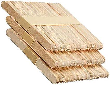 Xiaolan 50 palitos de palitos de palo, de madera de colores, para palitos de palitos de palitos de crema (color madera)