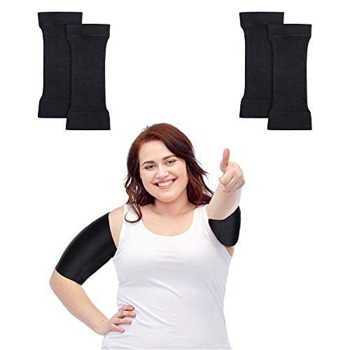 2 Pairs Arm Shapers for Women Plus Size, Hand Weights,Slimming Arm Wraps for Flabby Arms Weight Loss (2 Pairs Black)