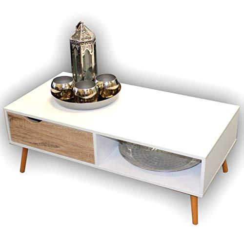 Großer WOHNZIMMERTISCH WEIß | Modern Eiche Sonoma | Couchtisch Sofatisch Beistelltisch mit Schublade
