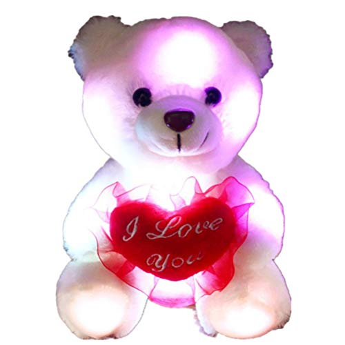 Bear Plush Toy Soft Toy Doll LED Colorido luz de la Noche Luminoso Oso de Peluche para Regalo de San valentín
