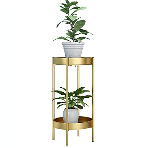 Plant Stand Gold Metal Plant Stands bloempot houder decoratieve Indoor Balkon Decorontwerp Beweegbare Multilayer Plant Stand Display Stand (Color : Gold, Size : 25x50cm)