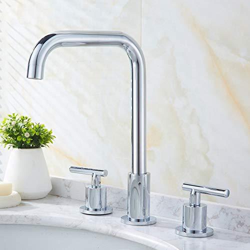 Waschtischarmaturen Becken Wasserhähne Gold/Chrom Messing Poliert Deck Montiert Platz Waschbecken Wasserhähne 3-Loch-Doppelgriff Heißes Und Kaltes Wasser Hähne