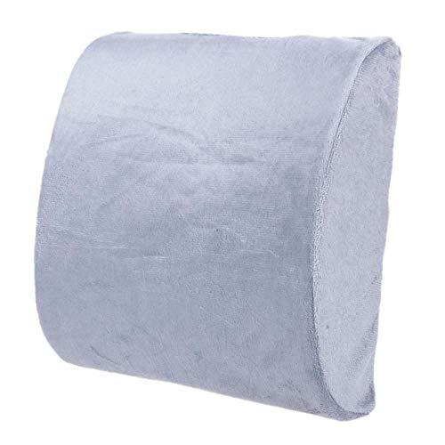 Almohada lumbar para coche, espuma viscoelástica, cojín lumbar para coche, soporte de espalda, almohada de viaje, asiento de coche, silla de oficina o sofá gris