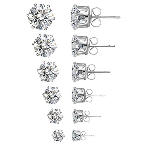 6 Pairs Stud Earrings Set,Clear Cubic Zirconia 316L Stainless Steel Earrings for Women for Men 3-8mm White Gold