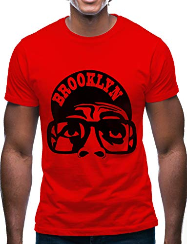 Swag Point Hip Hop T-Shirt - Funny Vintage Street wear Hipster Parody (L, BRKN-RED)