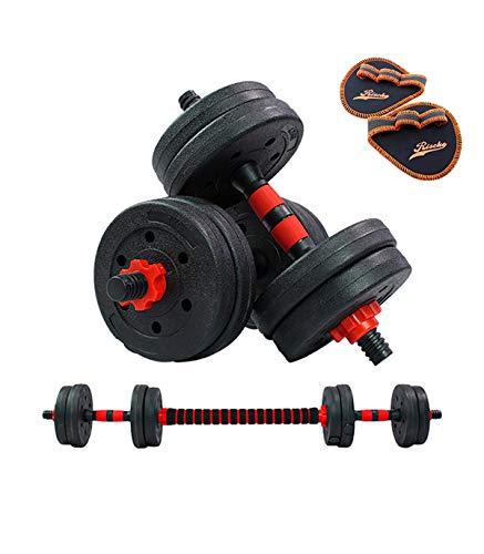 Riscko - Juego de Mancuernas 2 en 1 con Barra Ajustable | Peso Total 15 Kg | Entrenamiento De Fuerza | Equipo de Fitness para Casa y Gimnasio con Barra de Conexión