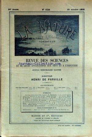 NATURE (LA) [No 1534] du 18/10/1902 - ATTELAGE AUTOMATIQUE DES WAGONS PAR CHAMARES - LA STATION TRANS-ATLANTIQUE MARCONI AU CAP BRETON PAR GUARINI - LA COMETE PAR DE PARVILLE - LA...