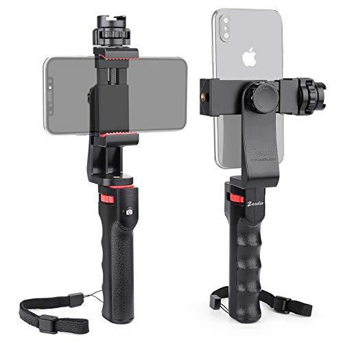 Zeadio Stabilizzatore Bluetooth per Smartphone, Vlogging Hand Grip Video Rig Handle Travel Selfie Stick con Supporto a Morsetto e otturatore remoto Wireless per Tutti i telefoni cellulari