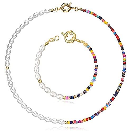 Oyria Collar Bohemio de Perlas de arroz, Pulsera para Mujer, Gargantilla Simple, Collar, Pulsera, Regalo de cumpleaos, Collar de Disfraz, joyera