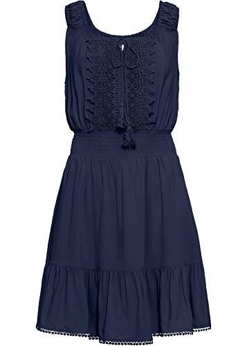 bonprix Charmantes Boho-Kleid mit Verzierungen dunkelblau 42 für Damen