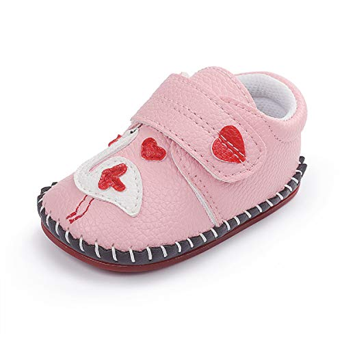 Baby Boys Girls Pu Leather Sneakers Hard Bottom Walking Slippers Toddler Rubber Sole First Walkers Infant Cartoon Crib Shoes Flamingo/Pink
