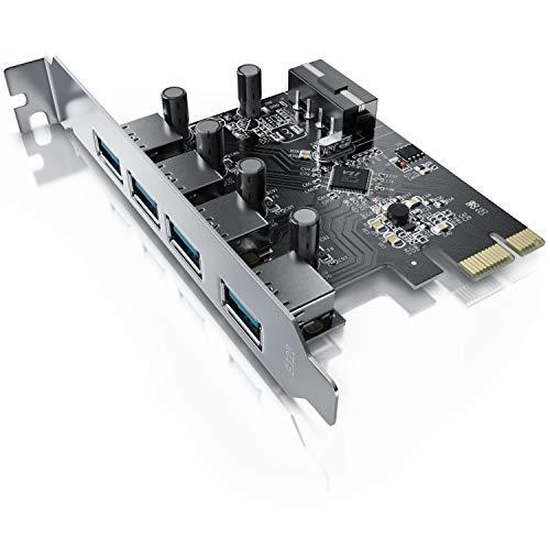 CSL - 4-Port USB 3.0 Super Speed Karte PCIe Express Controllerkarte - Schnittstellenkarte USB 3.0 - Neues Modell Neue Treiber - USB Verteiler intern