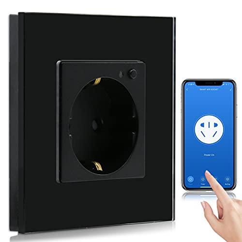 BSEED Enchufe de Pared WiFi,Schuko Enchufe inteligente Compatible con Alexa y Google Home,Control de APP y Función de Temporizador,protección de contacto,16A Enchufe de Pared Negro