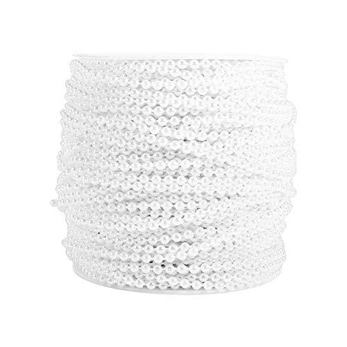 Cadena de Perlas, Zaradi 50M Rollo 3 mm Línea de Pesca Perlas Cadena de Cuentas Guirnalda Decoración de la Boda Centros de Mesa(Blanco)