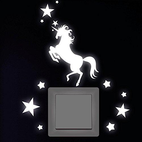 """Wandtattoo-Loft """"Einhorn mit 12 Sternen Leuchtaufkleber für Steckdose, Lichtschalter oder die Wand - Wandtattoo Fluoreszierende leuchtende Sticker"""