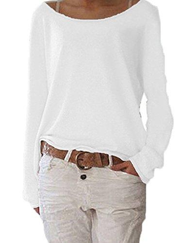 ZIOOER Damen Pulli Langarm T-Shirt Rundhals Ausschnitt Lose Bluse Langarmshirts Hemd Pullover Sweatshirt Oberteil Tops Shirts A Weiß S