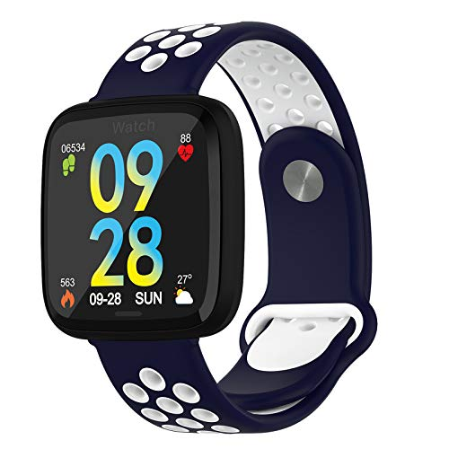 BNMY Smartwatch con Pulsómetro,Impermeable IP67 Reloj Inteligente con Cronómetro, Monitor De Sueño,Podómetro,Calendario,Control Remoto De Música,Pulsera Actividad para Android Y iOS,B
