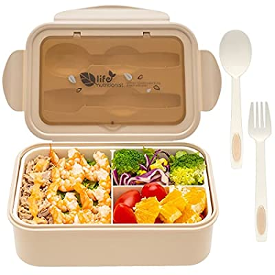 Bento Box For Adults Kids - 1600 ML All-in-One Stackable?Premium Japanese Bento Lunch Box Container With Utensil, Durable Leak-proof Eco-Friendly, Micro-Wave Dishwasher; Freezer Safe (Pink)