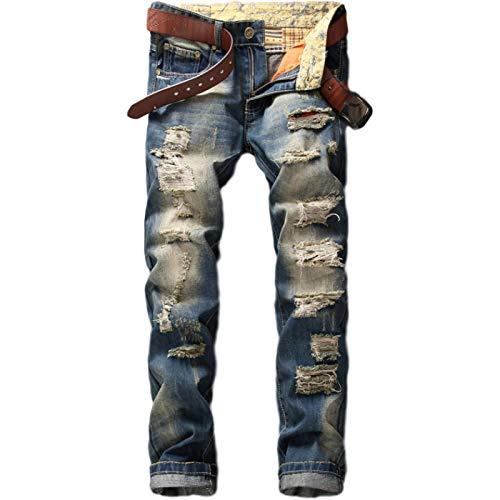 Jeans para Hombres Vintage Ripped Hole Jeans Denim Work, Fashion Frayed Patchwork Cremallera Pantalones Pantalones básicos Streetwear 30