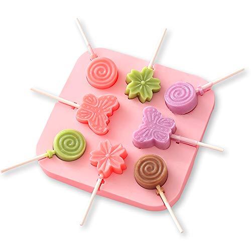 Molde para piruletas YAODHAOD de 8 cavidades, material de silicona, con tapa y 100 palos de papel, ideal para piruletas, caramelos duros, pasteles y chocolate (Rosa, Patrón de mariposa)