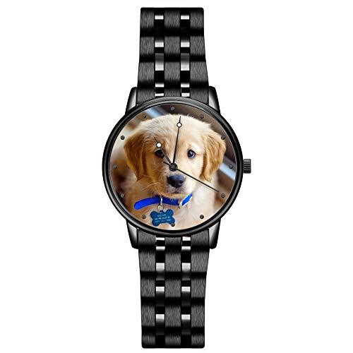 SOUFEEL Personalisierte Fotouhr Armbanduhr für Damen Herren Edelstahl Klassisch Analog Zifferblat täglich Wasserdicht 38mm - Schwarz