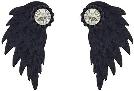 Lux Accessories Matte Black Feather Wing Rhinestone Front Back Earring Jacket