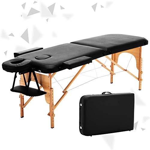 Massagetafel 2-delig Houten Opvouwbaar Lichtgewicht Massagebed Verstelbare Hoogte met Gezichtsgat voor Massage, Gezichtsverzorging, Tatoeage, Salon, spa, Acupunctuur, Fysiotherapie (Zwart)