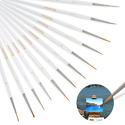 Detail Paint Brush Set 12Pcs Xpassion Round Pointed Tip Nylon Hair Brush Set for Miniatures Art Painting - Acrylic Watercolor Oil Back to School Supplies