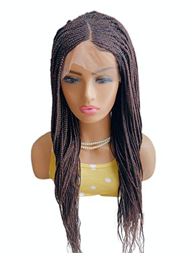 JBG Services Akuro Braid Wig - Handmade Cornrow Braiding Wigs for African American Women - Box Braids with Natural-Look Lace Front Closure - 13x6 Color 33 Dark Auburn Synthetic Hair - 22 Inches Long