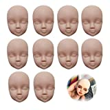 DoubleWood 10pcs 1/6 Doll Head Soft Plastic Toy Doll Repainting Practice Makeup White Double-fold Eyelid DIY Heads for BJD Make Up