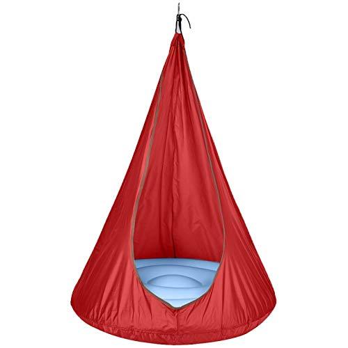 auspilybiber Nuevo swing pod hogar niño hamaca silla niños columpio Pod sola persona al aire libre interior toda la temporada al aire libre colgante asiento rojo