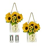TenXVI Designs Sunflower Mason Jar Wall Sconces, Set of 2, with Remote Controlled LED Fairy Lights - Perfect Country, Primitive, or Farmhouse Theme Home Decor for a Kitchen, Bathroom Bedroom, or Porch