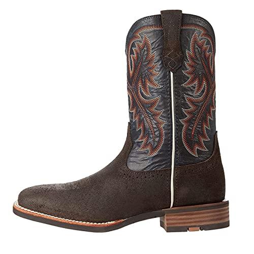 MNVOA Stivali da Cowboy per Uomo Stivali Invernali Punta Quadrata Stivali Western al Polpaccio in Pelle PU,caffè,46 EU